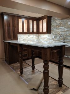 Walnut Bar with Cambria tops